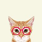 Ginger - Cute cat with glasses hipster cat art for dorm college decor funny cat lady meme by PetFriendly