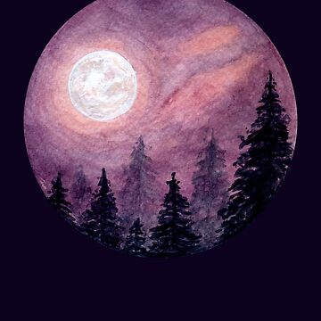 Fullmoon Forest - Watercolour Painting by patti2905