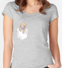 fish the dog - pocket blep Women's Fitted Scoop T-Shirt