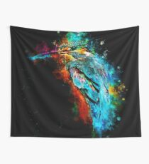 gxp eisvogel kingfisher watercolor splatter Wall Tapestry