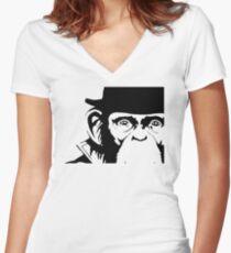 Lancelot Link Chimp Face Women's Fitted V-Neck T-Shirt