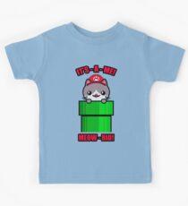Cat Cute Funny Kawaii Mario Parody Kids Tee