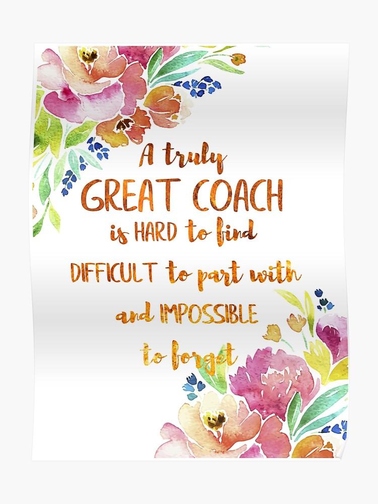 Ein Großer Trainer Ist Schwer Zu Finden Zitat Coach Geschenk Aquarell Floral Coach Wertschätzung Poster