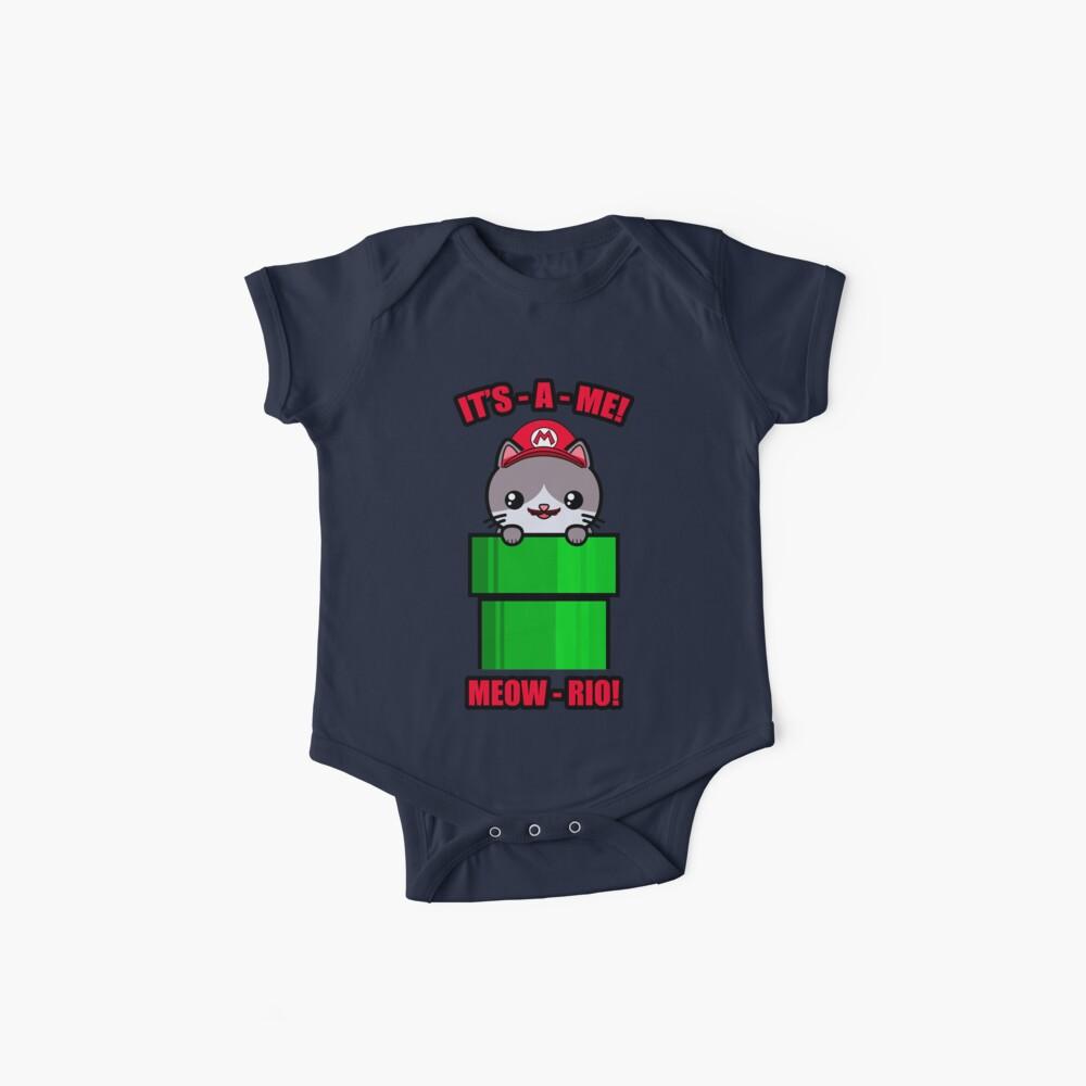 Katzen-nette lustige Kawaii Mario Parodie Baby Bodys