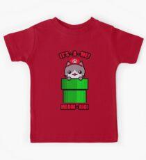 Funny Cat Cute Kawaii Mario Parody Kids Tee