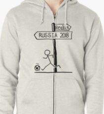 "Funny ""Reality vs Russia 2018"" Signpost Design; world cup 2018 Zipped Hoodie"