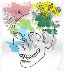 Watercolor skull with flowers Poster