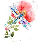 Watercolor Dragonfly on a flower II  by NewADesigns