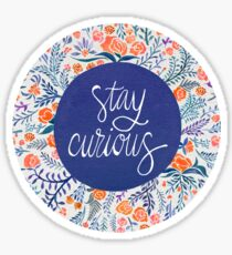 Stay Curious – Navy & Coral Sticker