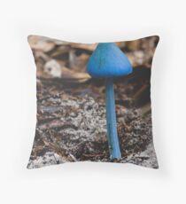 Blue Cap Fungi Throw Pillow