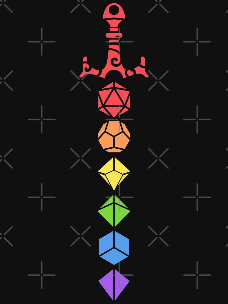 Nerdy Rainbow Polyhedral Dice Juego Espada Juego de rol de mesa de pixeptional