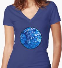 Blue Women's Fitted V-Neck T-Shirt