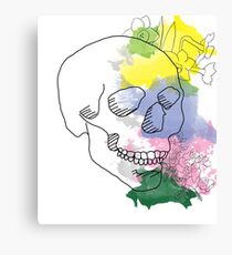 Watercolor skull with flowers Canvas Print