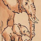 My Mama: Baby Elephant & Mama Watercolor Painting #12 by Rebecca Rees