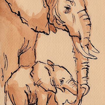 My Mama: Baby Elephant & Mama Watercolor Painting #12 by tranquilwaters