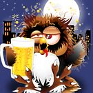 Drunk Owl with Beer Funny Character by BluedarkArt