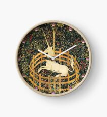 UNICORN AND GOTHIC FANTASY FLOWERS,FLORAL MOTIFS Clock