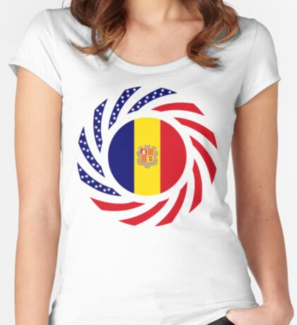Andorran American Multinational Patriot Flag Series Fitted Scoop T-Shirt