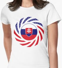 Slovakian American Multinational Patriot Flag Series Women's Fitted T-Shirt