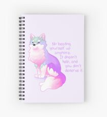 """""""No Beating Yourself Up Anymore"""" Pastel Rainbow Doggo Spiral Notebook"""