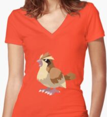 Pidgey Pokemon Simple No Borders Women's Fitted V-Neck T-Shirt