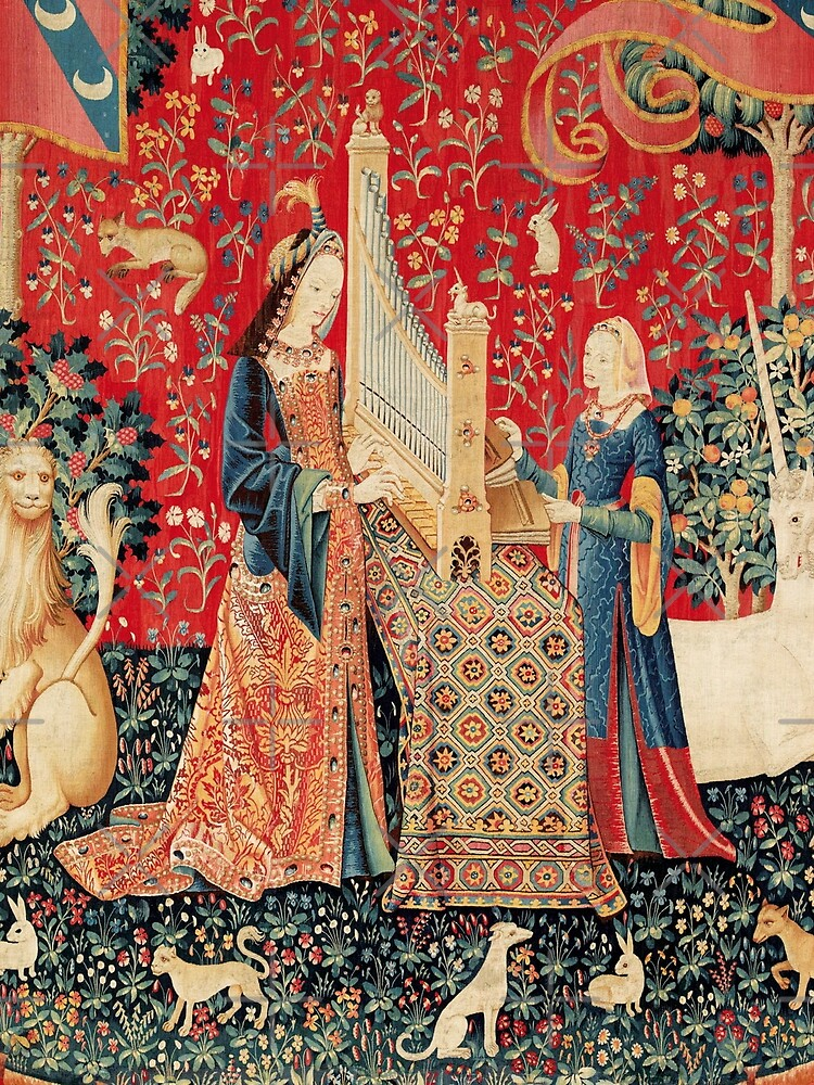 UNICORN AND LADY PLAYING ORGAN WITH ANIMALS , Hearing by BulganLumini