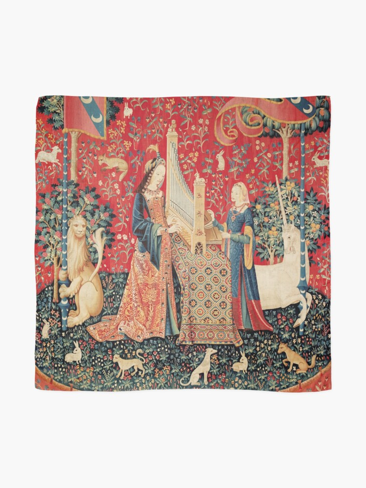 Alternate view of UNICORN AND LADY PLAYING ORGAN WITH ANIMALS , Hearing Scarf