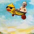Take Flight - Life is an adventure humorous fantasy mixed media art by LindaAppleArt