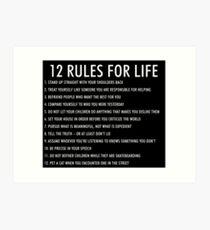 12 Regeln für das Leben jordan peterson (dunkle Version) Kunstdruck