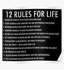 Póster 12 reglas para la vida jordan peterson (versión oscura)