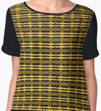 Yellow and Black Plaid Chiffon Top