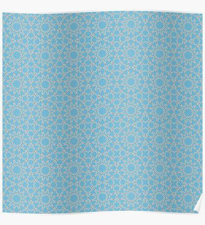Islamic Geometric pattern 002 Blue Background Poster