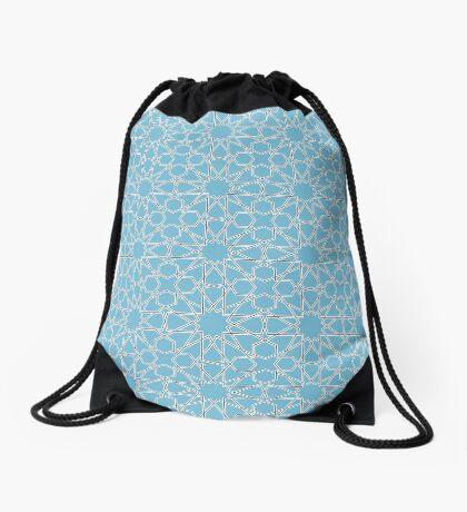 Islamic Geometric pattern 002 Blue Background Drawstring Bag