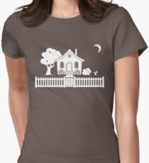 Cottage w/ Picket Fence (White design w/ moon) Womens Fitted T-Shirt