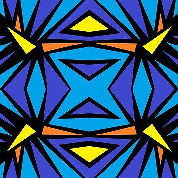 Blue Purple Orange Yellow Angular Seamless Repeating by EverhartArt