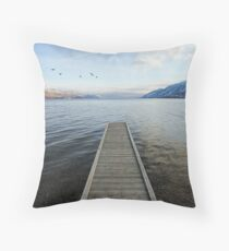 ducks and pier, Okanagan Lake, British Columbia Throw Pillow
