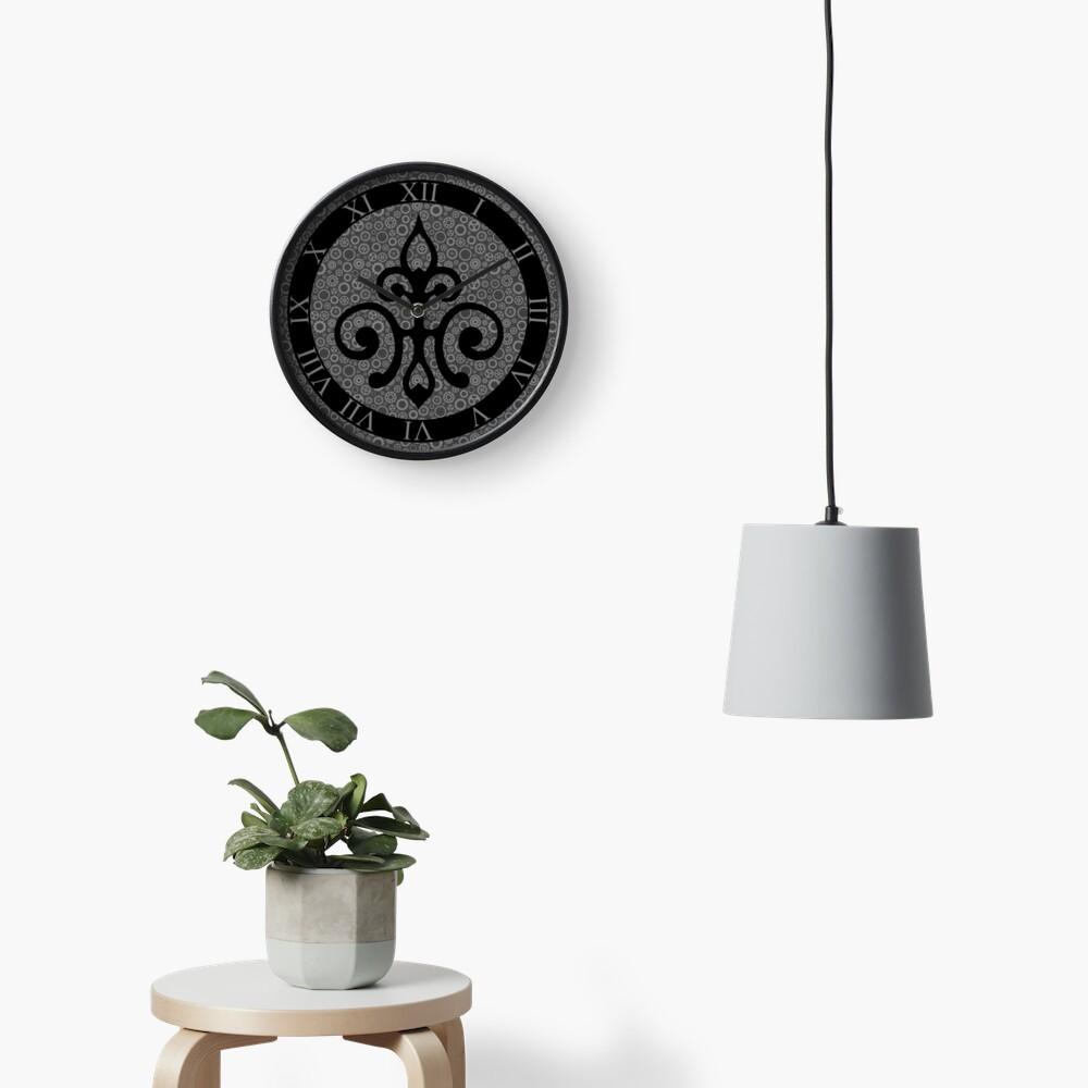 Clockwork Flur de Lis - Black and Grey Clock