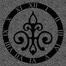 Clockwork Flur de Lis - Black and Grey by Sarinilli