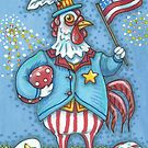 COCKLE DOODLE DANDY CHICKEN, PATRIOTIC ROOSTER by Susan Brack