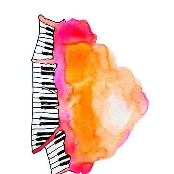 watercolor piano cloud by skiffthug
