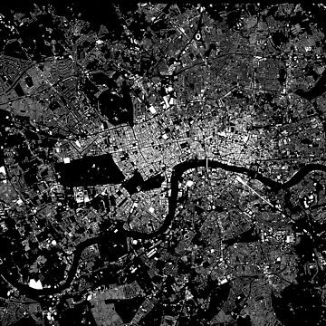 London Buildings Map (White on Black)  by flashman