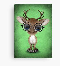 Cute Curious Nerdy Reindeer Wearing Glasses Green Canvas Print