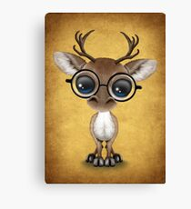 Cute Curious Nerdy Reindeer Wearing Glasses on Yellow Canvas Print