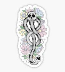 floral dark mark, white Sticker