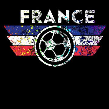 France Soccer Jersey Shirt Paint Splatter Vintage Distressed  by 7United
