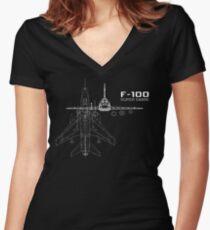 F-100 Super Sabre Women's Fitted V-Neck T-Shirt