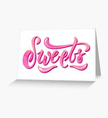 Pink sparkle lettering - Sweets Greeting Card