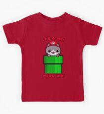 Mario Parody Cat Cute Funny Kawaii Kids Tee