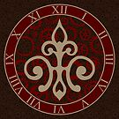 Clockwork Flur de Lis - Red and Brown by Sarinilli