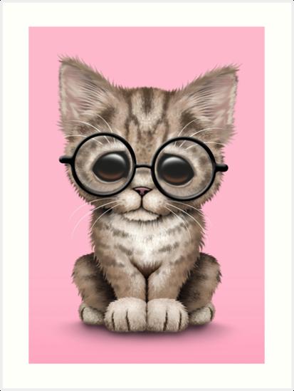 Cute Brown Tabby Kitten Wearing Eye Glasses, pink by jeff bartels